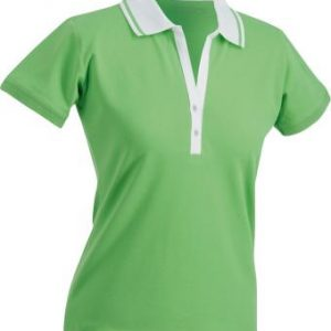 Ladies-Polo-Shirt-LimeGreen-White-T-Shirt-JN-158-1