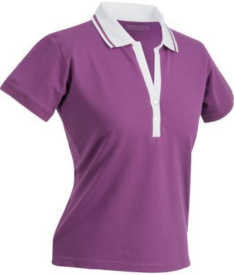 Ladies-Polo-Shirt-Purple-White-T-Shirt-JN-158-1
