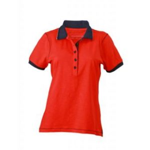 Ladies-Polo-Shirt-Tomato-Navy-T-Shirt-JN-979-1