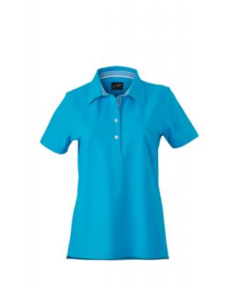 Ladies-Polo-Shirt-Turquoise-Turquoise-White-T-Shirt-JN-969-1