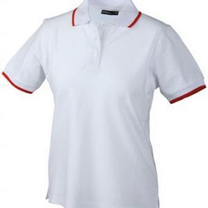 Ladies-Polo-Shirt-White-Red-T-Shirt-JN-934-1