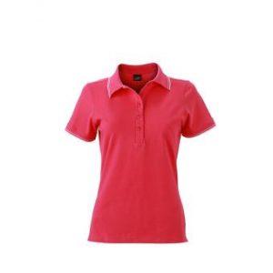 Womens-Polo-Shirt-Pink-White-T-Shirt-JN-985-1