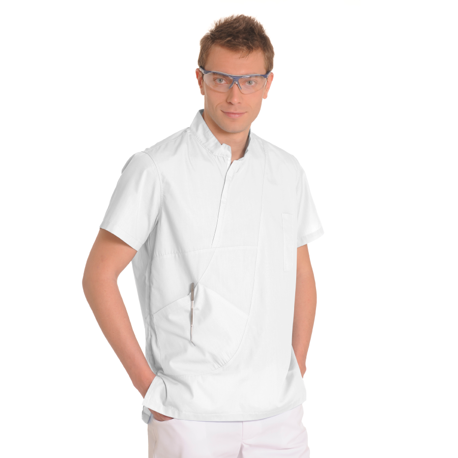 Mens-tunic-for-work-Aries-White