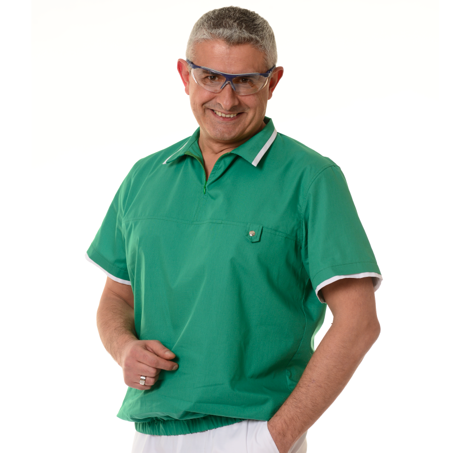 Mens-tunic-for-work-Crater-green