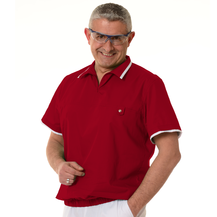 Mens-tunic-for-work-Crater-red